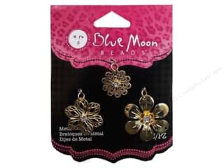 Blue Moon Charm PS Metal Filigree Flower Gold