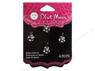 Blue Moon Beads Metal Charms Metal Drops 4 pc. Clear & Black
