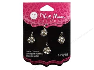 Blue Moon Beads Metal Charms Metal Drops 4 pc. Clear & Gold