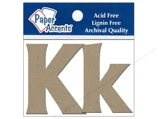 "iron-on upper and lower case letters: Paper Accents Chip Shape Letters 2"" Kk 2pc Nat"