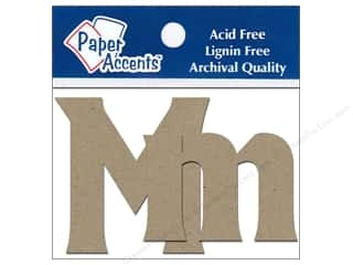 ABC & 123 mm: Paper Accents Chipboard Shape Letters Mm 2 in. 2pc Kraft