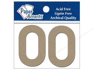 "Chipboard $0 - $2: Paper Accents Chipboard Shape Numbers ""0"" 2 in. 2 pc Kraft"