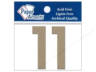 "Paper Accents Chip Shape Numbers 2"" 1 2pc Natural"