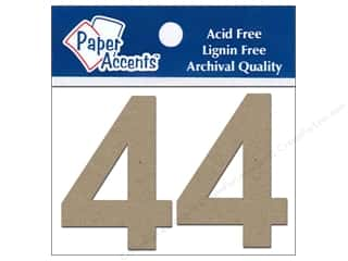"Boards $2 - $4: Paper Accents Chipboard Shape Numbers ""4"" 2 in. 2 pc Kraft"