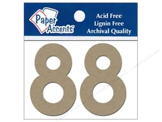 "Paper Accents Chip Shape Numbers 2"" 8 2pc Natural"