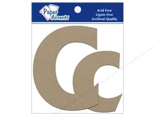 "Paper Accents Chip Shape Letters 4"" Cc 2pc Nat"