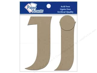 "Paper Accents Chip Shape Letters 4"" Jj 2pc Nat"