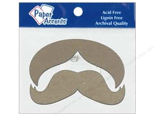 Paper Accents Chip Shape Mustache Natural 8pc