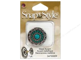 Cousin Snap In Style Accent Mtl Flower Turquoise
