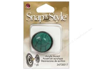 Cousin Snap In Style Accent Mtl Cabochon Aqua