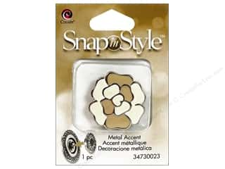Clearance Cousin Snap In Style Accent: Cousin Snap In Style Accent Mtl Flower Tan