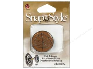 Charms and Pendants Brown: Cousin Snap In Style Accent Metal Leaf Brown