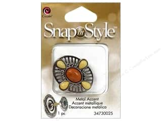 Compass Clearance Crafts: Cousin Snap In Style Accent Metal Oval Cabochon Natural