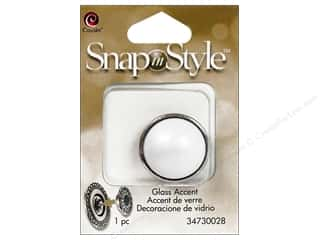 Charms Cousin Snap In Style Accent: Cousin Snap In Style Accent Glass Pearl White