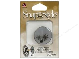 Charms Cousin Snap In Style Accent: Cousin Snap In Style Accent Metal Flower Grey