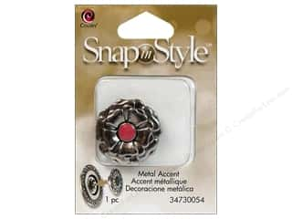 Charms Cousin Snap In Style Accent: Cousin Snap In Style Accent Metal Flower Pink