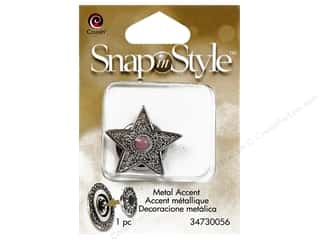 Snaps $5 - $7: Cousin Snap In Style Accent Metal Star Pink