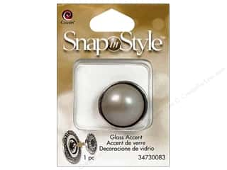 Charms Cousin Snap In Style Accent: Cousin Snap In Style Accent Glass Pearl Almond