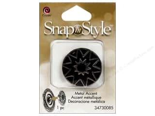 Charms and Pendants Black: Cousin Snap In Style Accent Metal Star Black