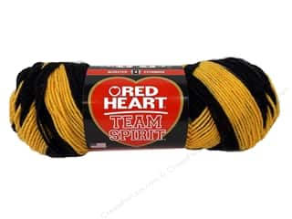 worsted weight yarn: Red Heart Team Spirit Yarn Gold/Black