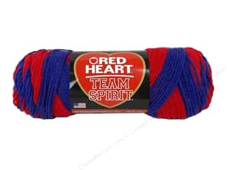 Polyester / Acrylic / Poly Blend Yarns: Red Heart Team Spirit Yarn #0940 Red/Blue