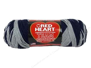worsted weight yarn: Red Heart Team Spirit Yarn #0944 Navy/Grey