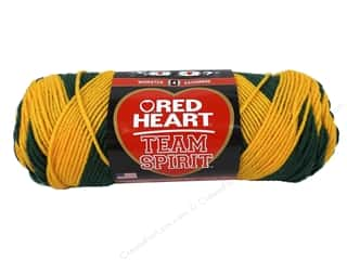 worsted weight yarn: Red Heart Team Spirit Yarn #0948 Green/Gold
