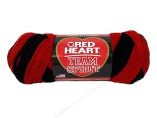 fingering yarn: Red Heart Team Spirit Yarn #0952 Red/Black