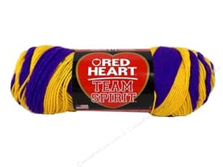 worsted weight yarn: Red Heart Team Spirit Yarn #0956 Purple/Gold
