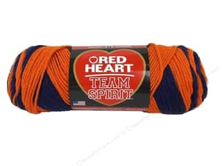 Polyester / Acrylic / Poly Blend Yarns: Red Heart Team Spirit Yarn #0960 Orange/Navy