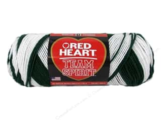 Polyester / Acrylic / Poly Blend Yarns: Red Heart Team Spirit Yarn #0968 Green/White