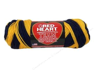 worsted weight yarn: Red Heart Team Spirit Yarn #0980 Navy/Gold