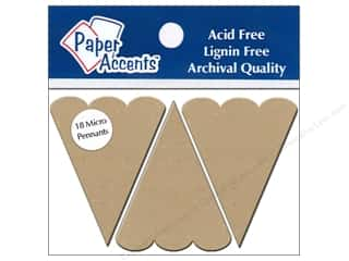 "Paper Accents Chipboard Pennants Scallop Top 1.25""x 2"" Micro Natural 18pc"