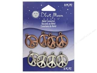 Drop Findings / Hoop Findings: Blue Moon Beads Connectors 8 pc. Copper & Silver Peace Signs