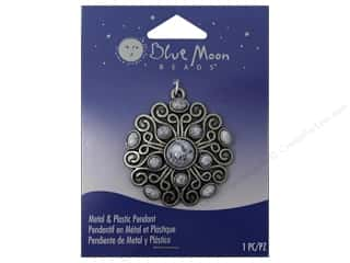 Blue Moon Metal & Plastic Pendant Oxidized Silver Swirls with Marble