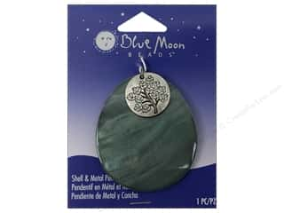 Clearance Blue Moon Pendants: Blue Moon Beads Shell & Metal Pendants Green Teardrop & Oxidized Silver Tree