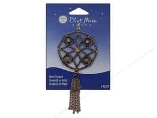 Blue Moon Metal Pendant Copper Round Cutout with Fringe