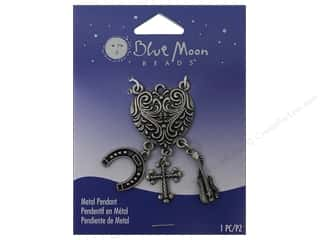 Clearance Blue Moon Pendant: Blue Moon Beads Metal Pendant Oxidized Silver Heart with Charms
