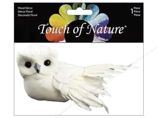 "Decorative Floral Critters & Accessories: Midwest Design Birds 3"" Feather Owl White 1pc"