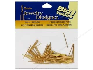 "Darice JD Head Pins 1"" Gold Plate Brass 100pc"