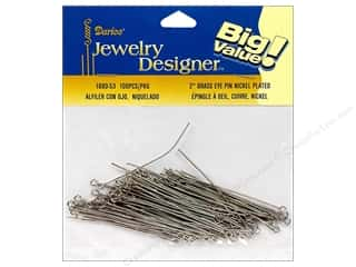 Darice JD Eye Pins 2&quot; Nickel Plate Brass 100pc