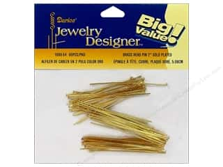 "Darice JD Head Pins 2"" Gold Plate Brass 60pc"