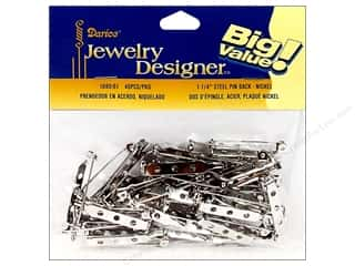 "Everything You Love Sale Beading & Jewelry Making Supplies: Darice Jewelry Designer Pin Back 1.25"" Nickel Plate Steel 40pc"