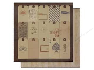 Bazzill Blue: Bazzill 12 x 12 in. Paper Beach House House Tags/Weathered Wood 25 pc.