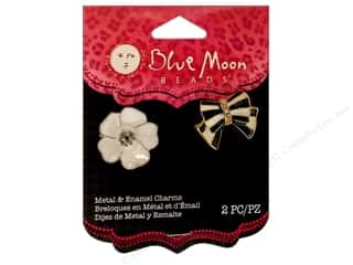 Charms Blue Moon Charm: Blue Moon Beads Metal & Enamel Charms Peggy Sue Flower & Bow 2 pc. Black & White
