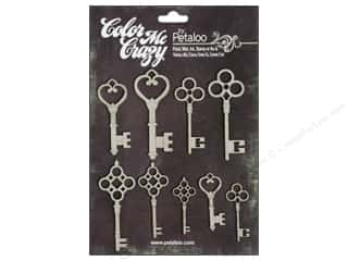 Petaloo Chipboard Embellishments: Petaloo Color Me Crazy Chipboard Keys
