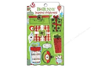 Bo Bunny Chipboard Shapes: Bo Bunny Chipboard Stickers Layered Mistletoe