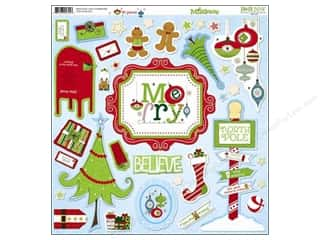 Bo Bunny Sticker Chipboard 12x12 Mistletoe