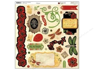 Chipboard Shapes  Flowers: Bo Bunny Sticker Chipboard 12x12 Serenade