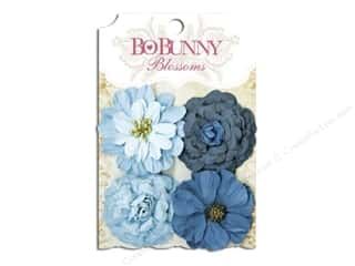 Bo Bunny Flowers / Blossoms: Bo Bunny Blossoms Zinnia 4 pc. Denim Blue